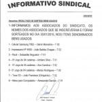 Informativo Sorteio - Janeiro 2015