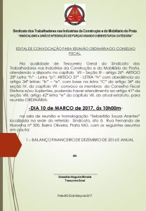 EDITAL DE CONVOCAÇÃO PARA REUNIÃO CONSELHO FISCAL - FEVEREIRO 2017 -