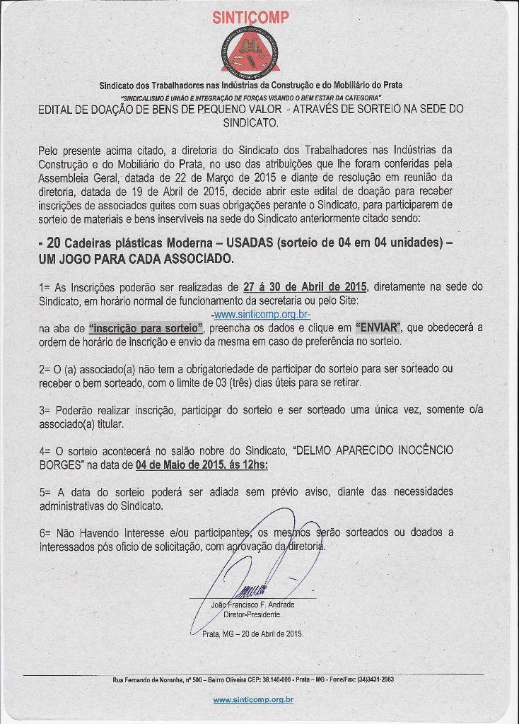 SORTEIO DE CADEIRAS USADAS