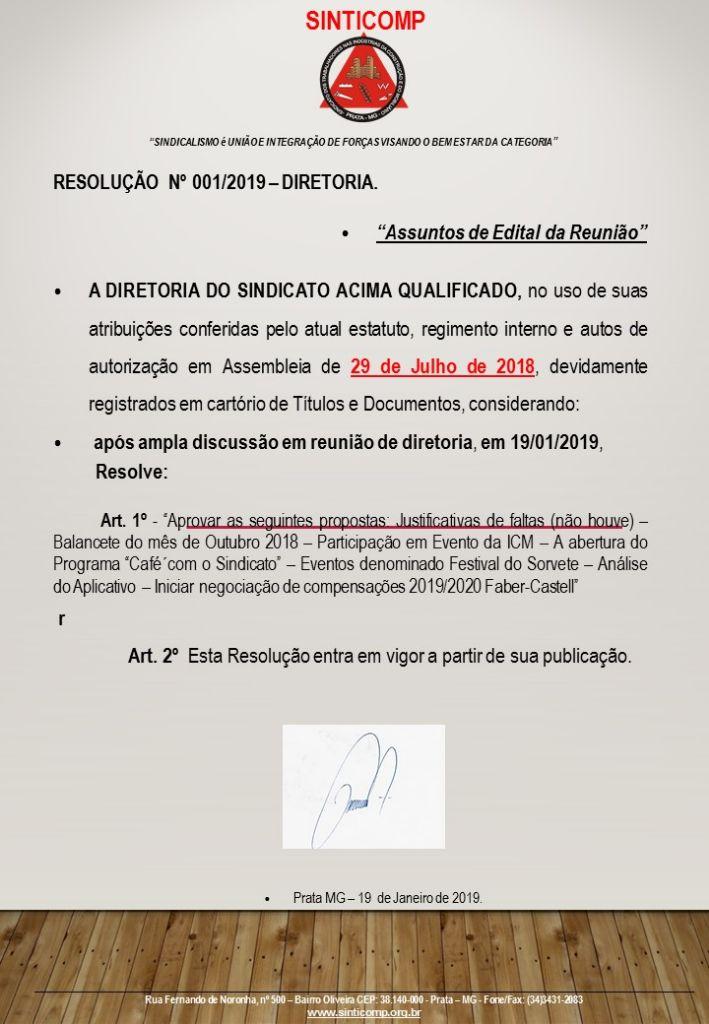 RESOLUÇÃO DE DIRETORIA 001/2019